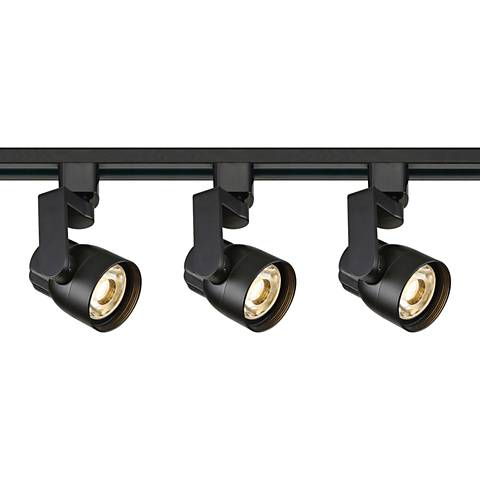 Satco Mizner 3-Light Black Angle Arm LED Track Kit