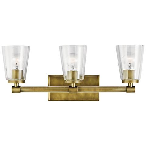 "Kichler Audrea 23 3/4"" Wide Natural Brass 3-Light Bath Light"