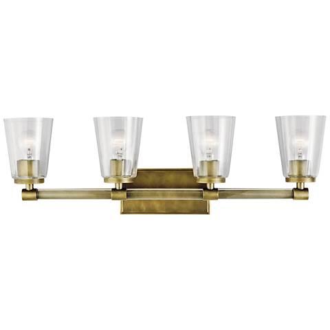 "Kichler Audrea 30 1/4"" Wide Natural Brass 4-Light Bath Light"