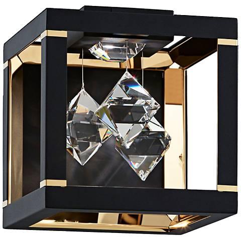 "Schonbek Fyra 8"" High Black LED Wall Sconce"