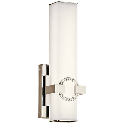 "Kichler Bordeaux 13 3/4""H Polished Nickel LED Wall Sconce"
