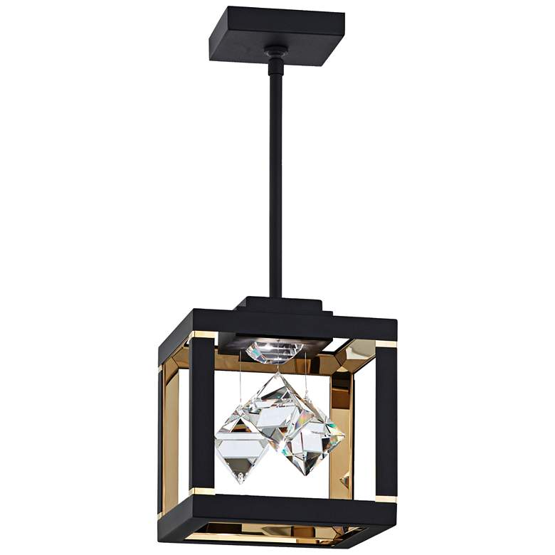 "Schonbek Fyra 8"" Wide Black LED Mini Pendant"
