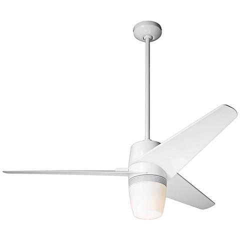 "48"" Modern Fan Velo Gloss White LED Ceiling Fan"