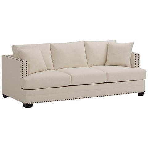 "Zara 91"" Wide Ivory Fabric Three-Seat Sofa"
