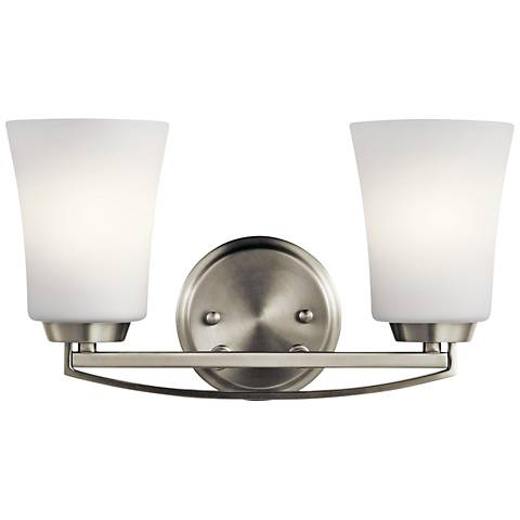 """Kichler Tao 8"""" High Brushed Nickel 2-Light Wall Sconce"""