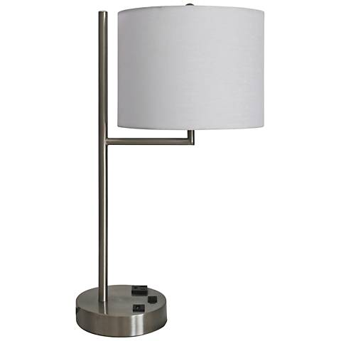 """Wiles 20""""H Brushed Nickel Accent Table Lamp with USB Port"""