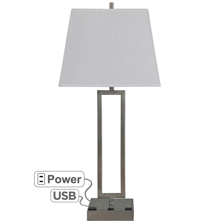 Margate Brushed Nickel Table Lamp with USB Port