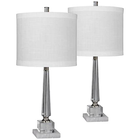 Browerdale Clear Crystal Tapered Table Lamp Set of 2