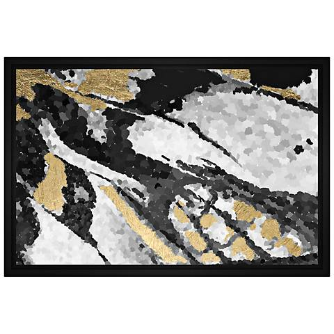 """Abstract Gray 31 3/4"""" Wide Framed Canvas Wall Art"""