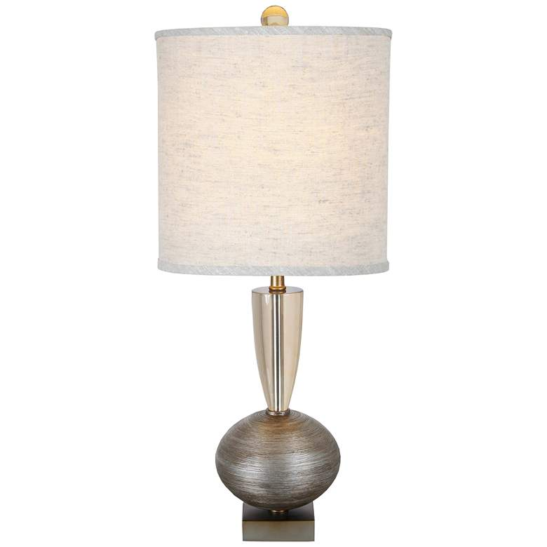 Ofir Dark Silver Jacobean and Brilliant Silver Table Lamp