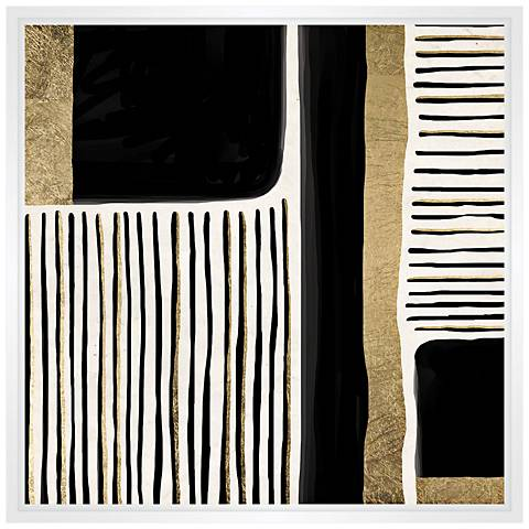 """Linear Pattern Play 31 1/2"""" Square Framed Canvas Wall Art"""