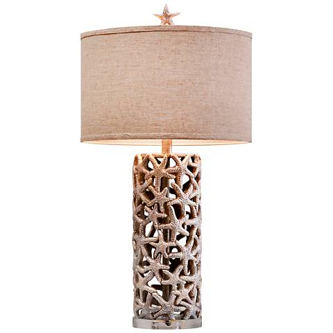 Sanibel Silver Cylindrical Table Lamp
