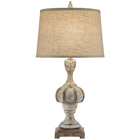 Raven Painted Weathered Distressed Table Lamp