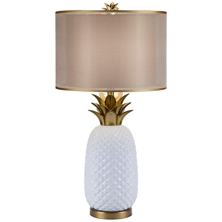 Oahu White Ceramic and Metallic Gold Table Lamp