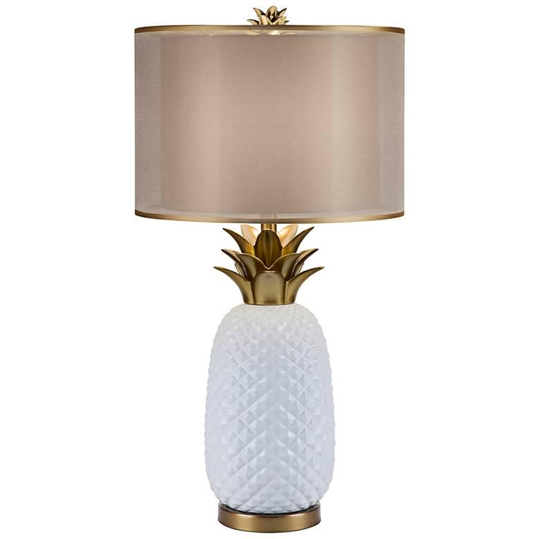 Oahu White Ceramic and Metallic Gold Table Lamp