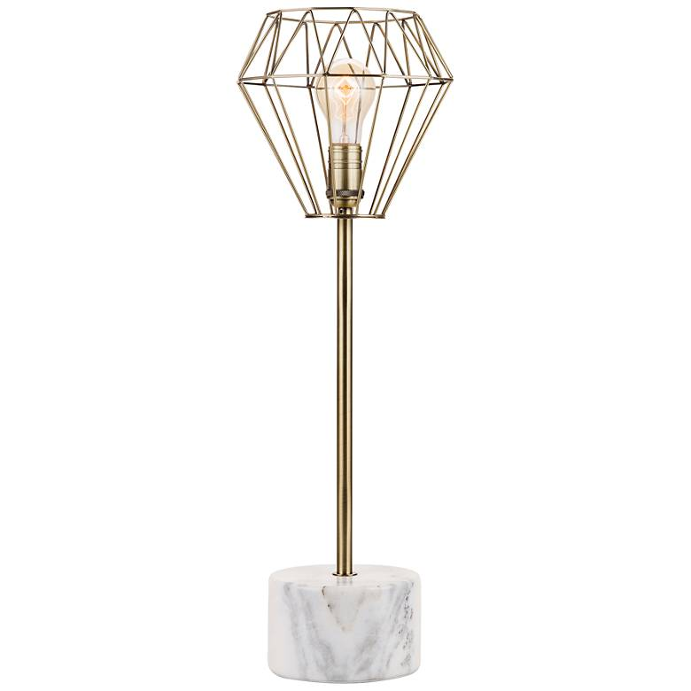Helena Plated Brass and White Marble Table Lamp