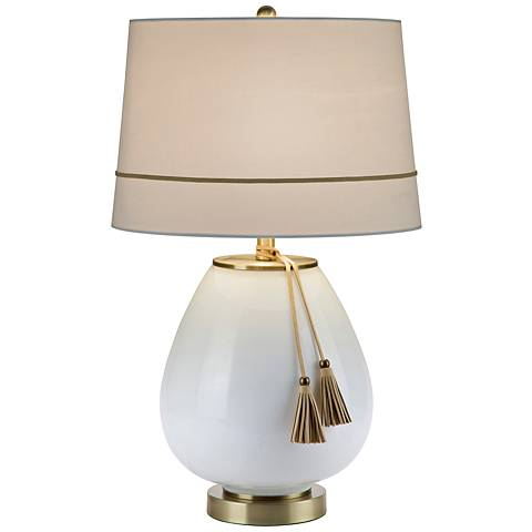 Carey White Milk Glass and Antique Brass Table Lamp