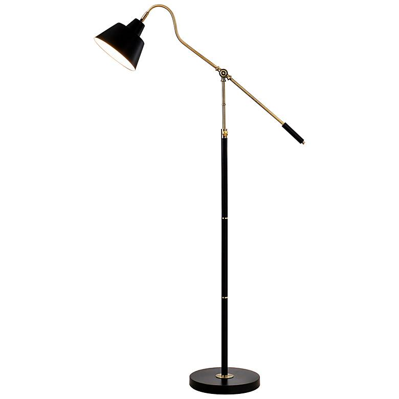 Nelson Antique Brass and Matte Black Adjustable Floor Lamp