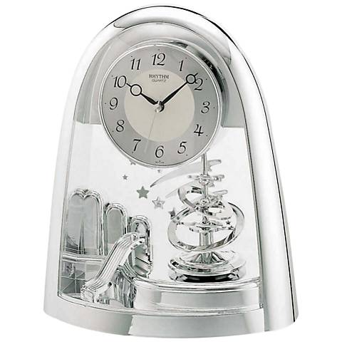 """Silver Space in Motion 9 1/2"""" High Chrome Table Clock"""