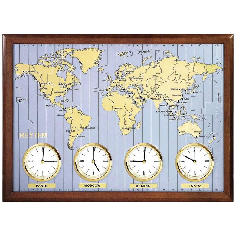 "Around The World 23 1/2"" Wide Dark Cherry Wall Clock"