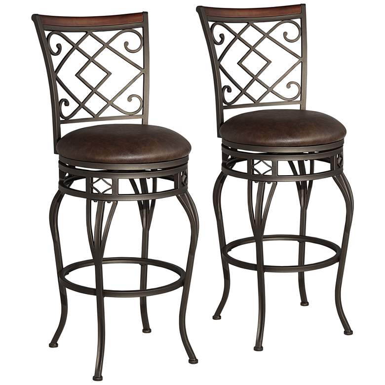 "Hartley 30"" Wood and Bronze Metal Swivel Bar Stools Set of 2"