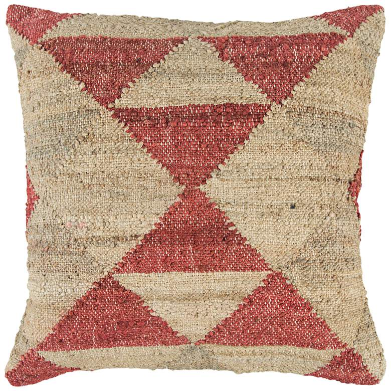"""Natural and Red Mirrored Triangles 20"""" Square Throw Pillow"""
