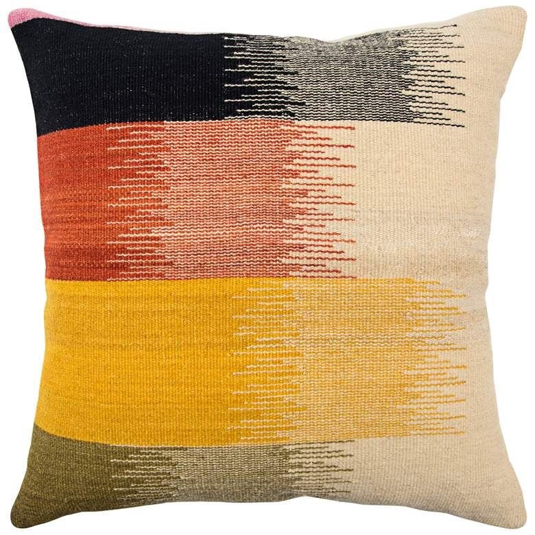 """Yellow Multi-Color Brushstroke 20"""" Square Throw Pillow"""