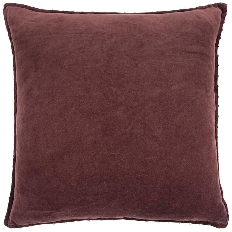 "Maroon Purple Cotton 22"" Square Throw Pillow"
