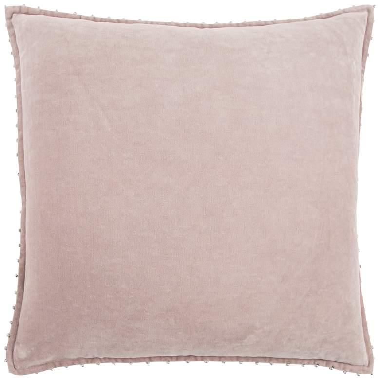 "Light Pink Cotton 22"" Square Throw Pillow"