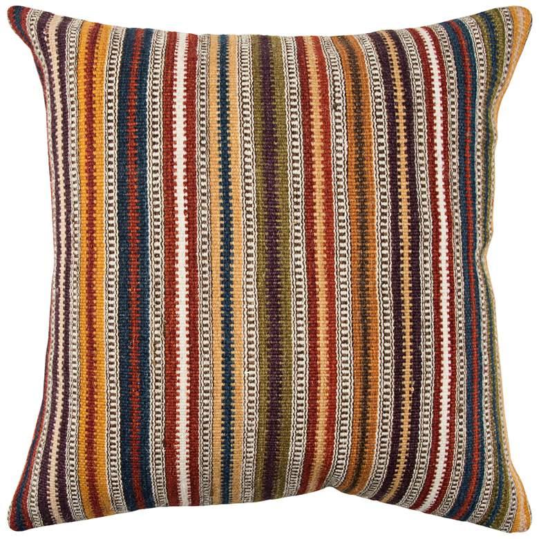 "Orange Multi-Color Stripes 20"" Square Throw Pillow"