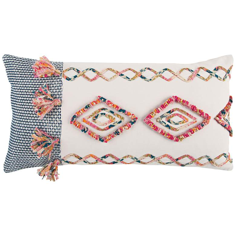 """Pink Multi-Color Twill Braids Cotton 26"""" X 14"""" Throw Pillow"""