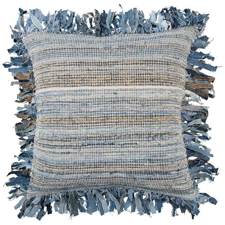 """Natural and Indigo Blue Denim 22"""" Square Throw Pillow"""