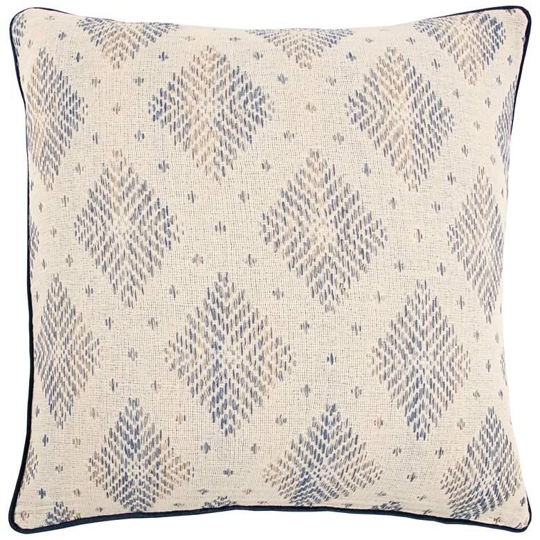 "Natural and Dark Blue Diamond Cotton 22"" Square Throw Pillow"