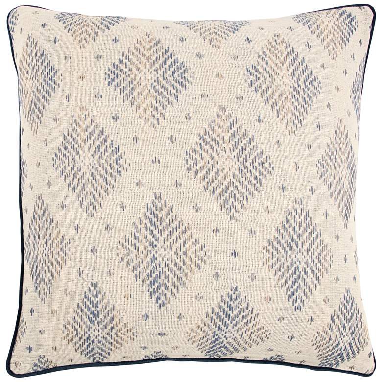 "Natural and Dark Blue Diamond Cotton 22"" Square Throw Pillow"