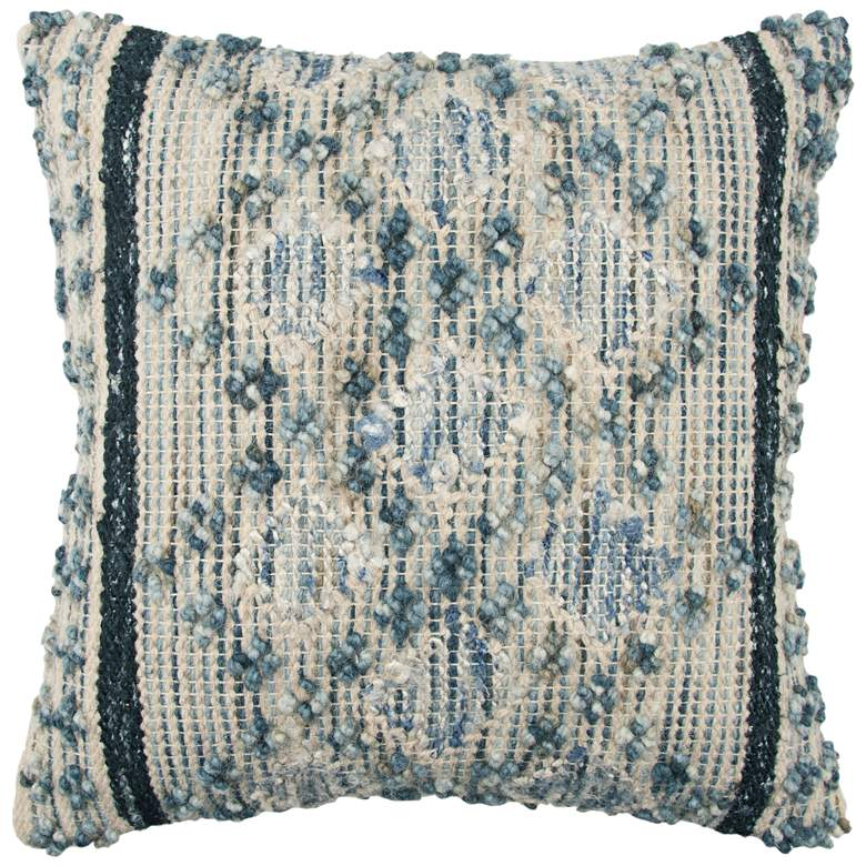 """Natural and Blue Sewn 20"""" Square Throw Pillow"""