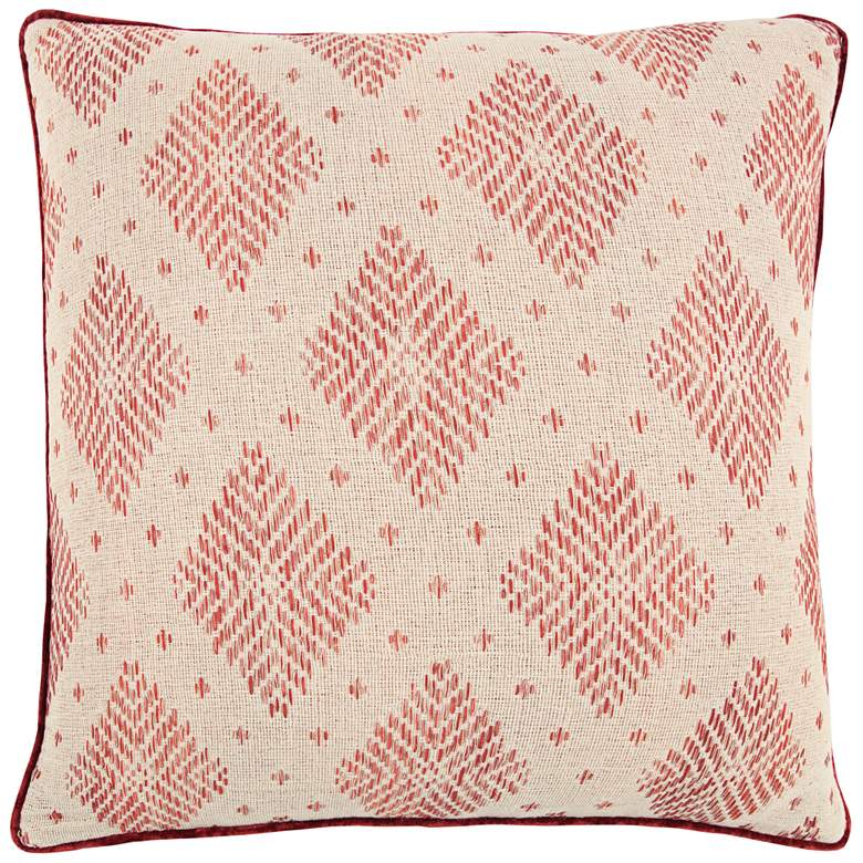"""Natural and Red Diamond Cotton 22"""" Square Throw Pillow"""