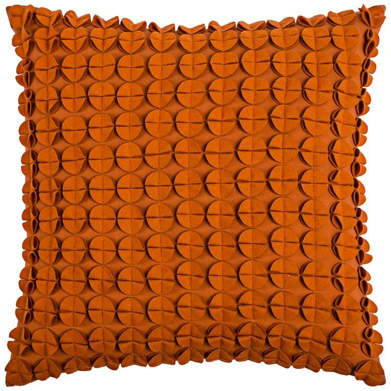 "Kellan Textured Felt Circles Orange 20"" Square Throw Pillow"