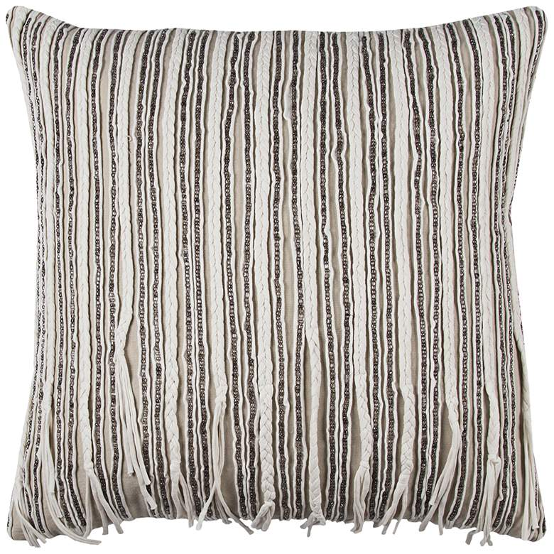 "Ivory and Gray Braided Hosiery 20"" Square Throw Pillow"