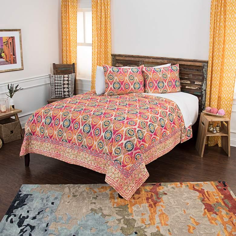 Maddux Place Pink Multi-Color 3-Piece Queen Quilt Set