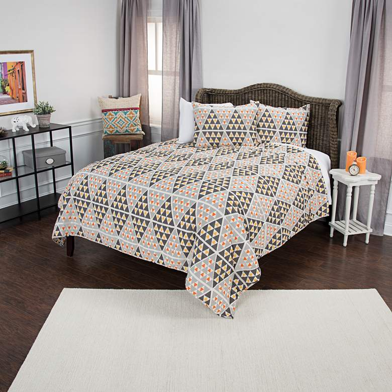 Maddux Place Gray and Orange 3-Piece Queen Quilt Set