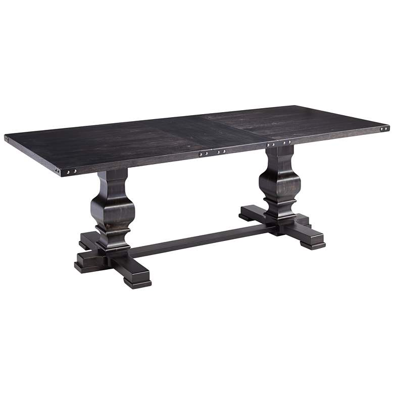 "Manchester 88"" Wide Vintage Black Dining Table"