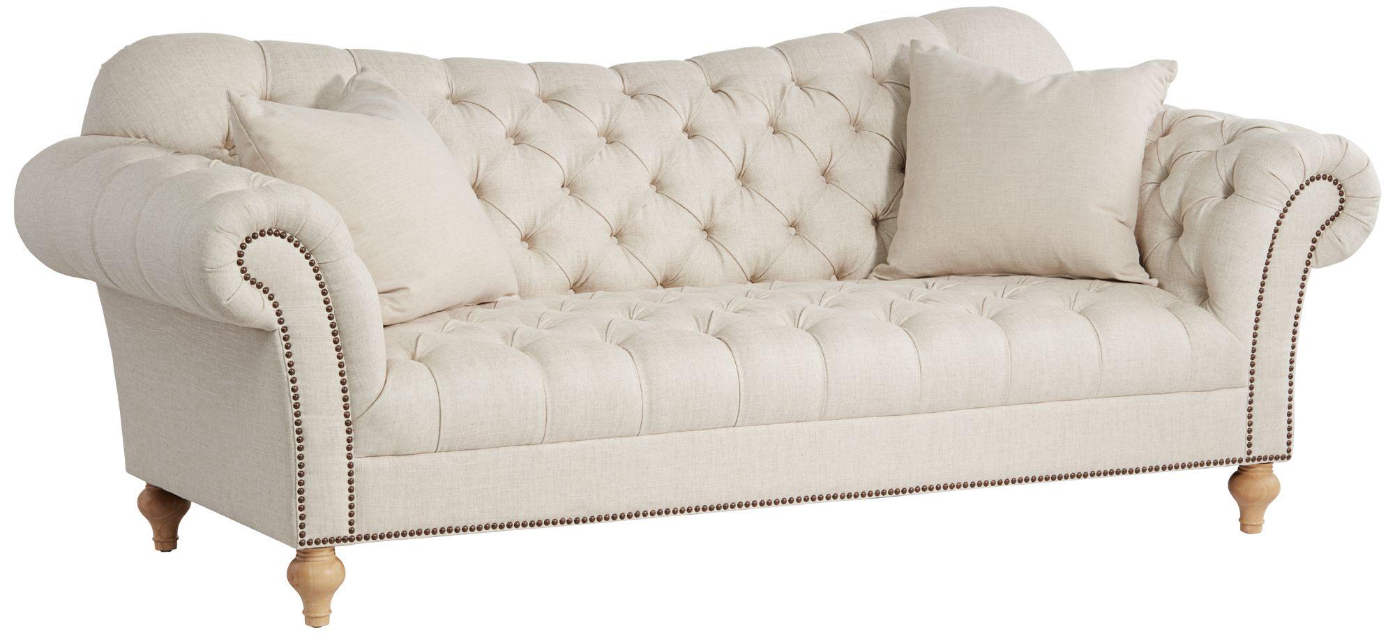 Vanna Brussel Linen Tufted Sofa With Linen Down Pillows