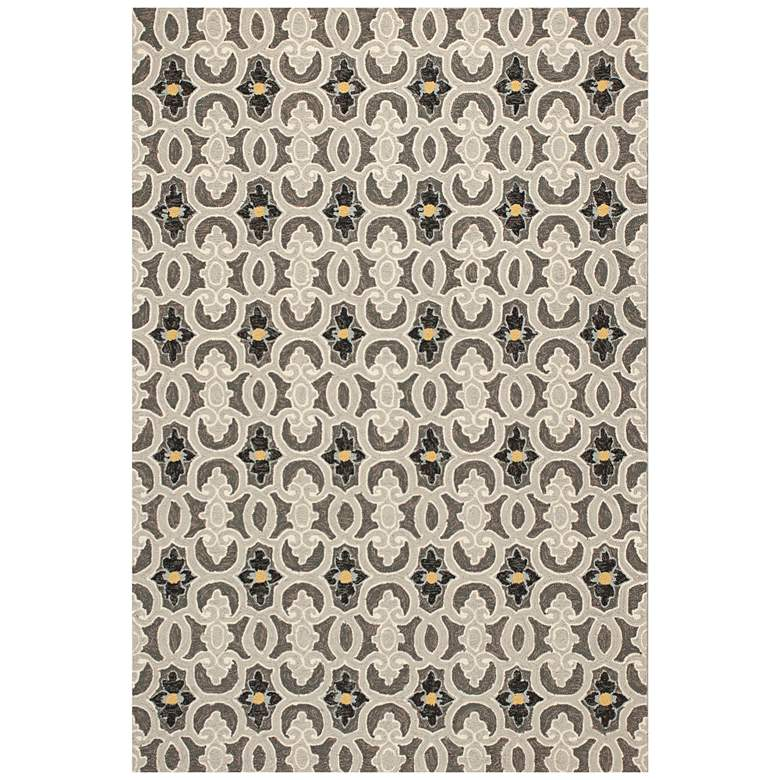 """Harbor 4201 5'x7'6"""" Charcoal Scrollwork Outdoor Area Rug"""