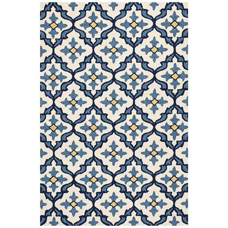 """Harbor 4210 5'x7'6"""" Ivory and Blue Mosaic Outdoor Area Rug"""