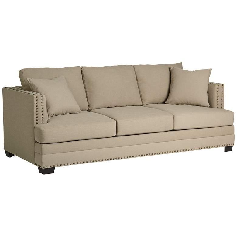"Zara 91"" Wide Heritage Pebble Fabric Three-Seat Sofa"
