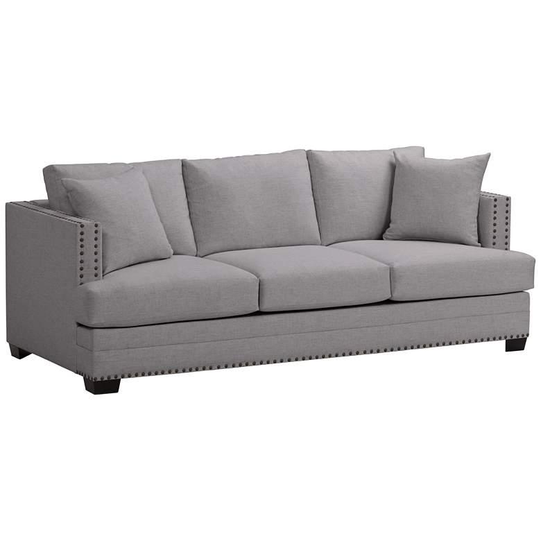 "Zara 91"" Wide Heritage Flannel Fabric Three-Seat Sofa"