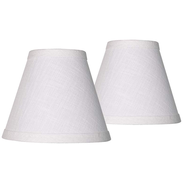 Set of 2 White Linen Empire Shade 3x6x5