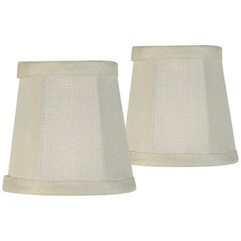 Set of 2 Creme Fabric Lamp Shade 3x4x4 (Clip-On)
