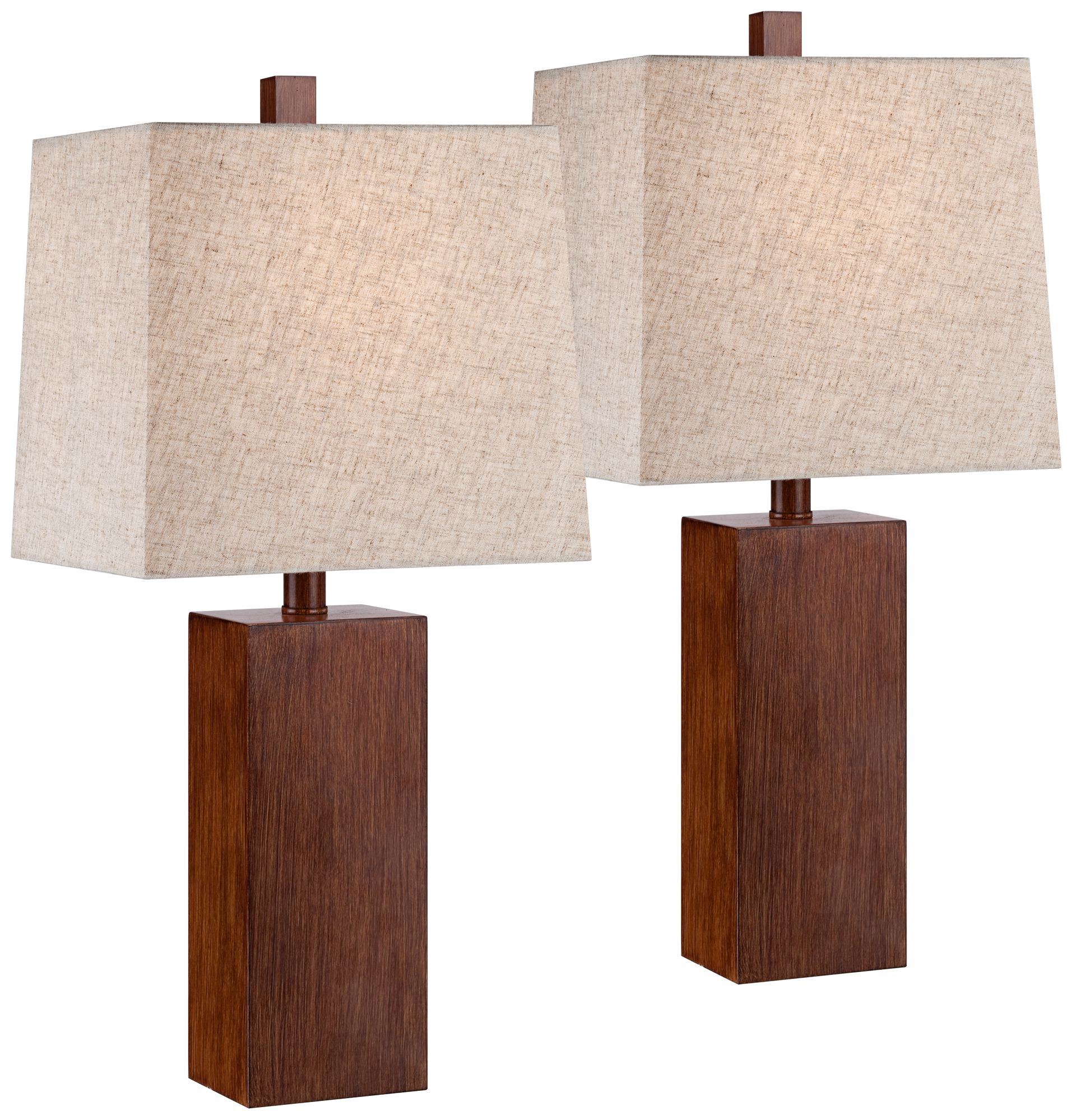 Details About Modern Accent Table Lamps Set Of 2 Brown Wood Tan For Living Room Bedroom Office