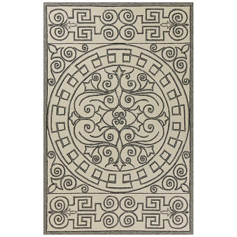 """Harbor 4246 5'x7'6"""" Ivory and Gray Irongate Outdoor Rug"""